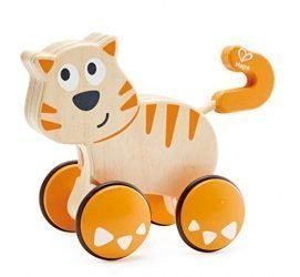 HapeDante Push and Go| Wooden Push, Release & Go Cat Toddler Toy with Wheels