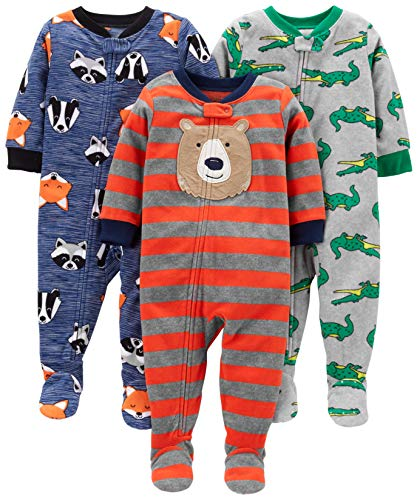 Simple Joys by Carter's Boys' 3-Pack Loose Fit Flame Resistant Fleece Footed Pajamas, Bear/Alligator/Fox/Racoon, 24 Months
