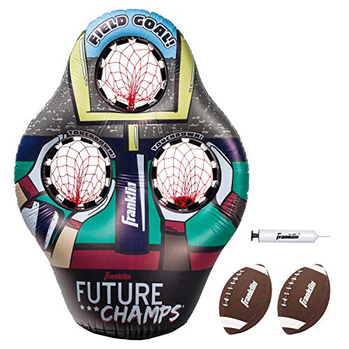 Franklin Sports Kids Football Target Toss Game – Inflatable Football Throwing Target with Footballs – Kids Football Toss Game – 45″ Target