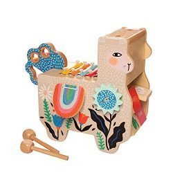 Manhattan Toy Musical Llama Wooden Instrument for Toddlers with Maraca, Clacking Saddlebags, Drumsticks, Washboard & Xylophone