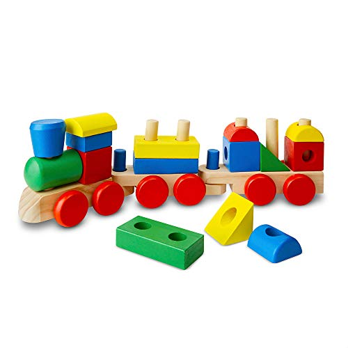 Melissa & Doug Stacking Train (Classic Wooden Toddler Toy, 18 Pieces, Great Gift for Girls and Boys – Best for 2, 3, and 4 Year Olds)