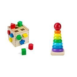 Melissa & Doug Shape Sorting Cube Classic Wooden Kids Toy (Best for 2, 3, and 4 Year Olds) & Rainbow Stacker Classic Toy (Best for Babies, 18 Month Olds, 24 Month Olds, 1 and 2 Year Olds)