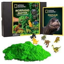 NATIONAL GEOGRAPHIC Morphing Matter Dinosaur Kit – 3 Cups of Morphing Matter, 6 Dinosaur Figures, Package Converts Into Play Setting, Astounding Kinetic Sensory Activity for Kids