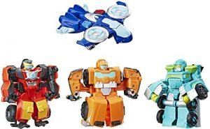 Playskool Heroes Transformers Rescue Bots Academy Rescue Team Pack, 4 Collectible 4.5″ Converting Action Figures, Toys for Kids Ages 3 & Up, Brown (E5099)