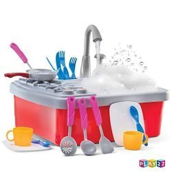 Play22 Kitchen Sink Toy 17 Set – Play Sink Play House Pretend Toy Kitchen Sink with Running Water – Kids Toy Sink with Real Faucet & Drain, Dishes, Utensils & Stove – Kitchen Toys for Toddlers & Kids
