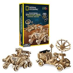 NATIONAL GEOGRAPHIC Solar Space Explorers – DIY Moon Buggy and Mars Rover Model Kit, Each Powered by a Solar Panel, Great STEM Toy for Girls and Boys Interested in Outer Space and Engineering