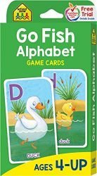 School Zone – Go Fish Alphabet Game Cards – Ages 4 and Up, Preschool to First Grade, Uppercase and Lowercase Letters, ABCs, Word-Picture Recognition, Animals, Card Game, Matching, and More